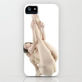 9412-KMA Nude Woman on Mirror Legs Feet Up High Key Fine Art iPhone Case