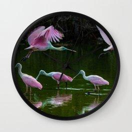 Spoonbill Cranes Wall Clock