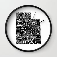 utah Wall Clocks featuring Typographic Utah by CAPow!