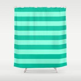 Teal and Aqua Mint Stripes Shower Curtain