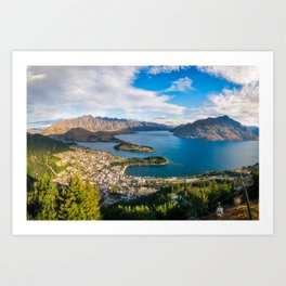 Queenstown Panorama at golden hour, New Zealand. Art Print