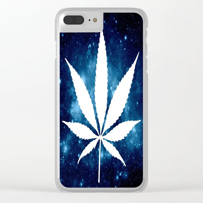 Weed : High Times Blue Galaxy Clear iPhone Case