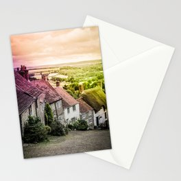 Down a quiet road in Gold Hill, Shaftesbury Stationery Cards