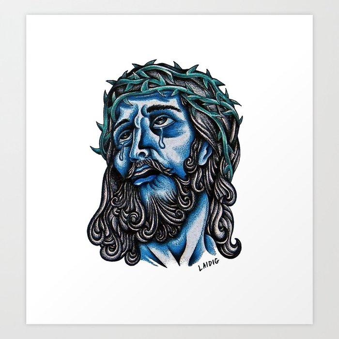 The Blue Jesus  Art Print