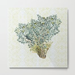 The bird in the bush nearby Metal Print