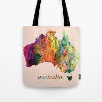 australia Tote Bags featuring Australia  by mark ashkenazi