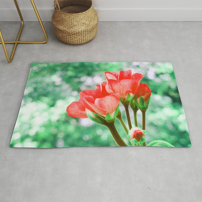 Red Flowers Bokeh Sparkle Rug By