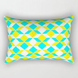 Turquoise & Yellow Diamonds Inverted Rectangular Pillow