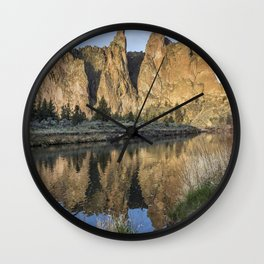 Reflection of Smith Rock in Crooked River Wall Clock