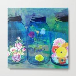 Flowers Jars Metal Print