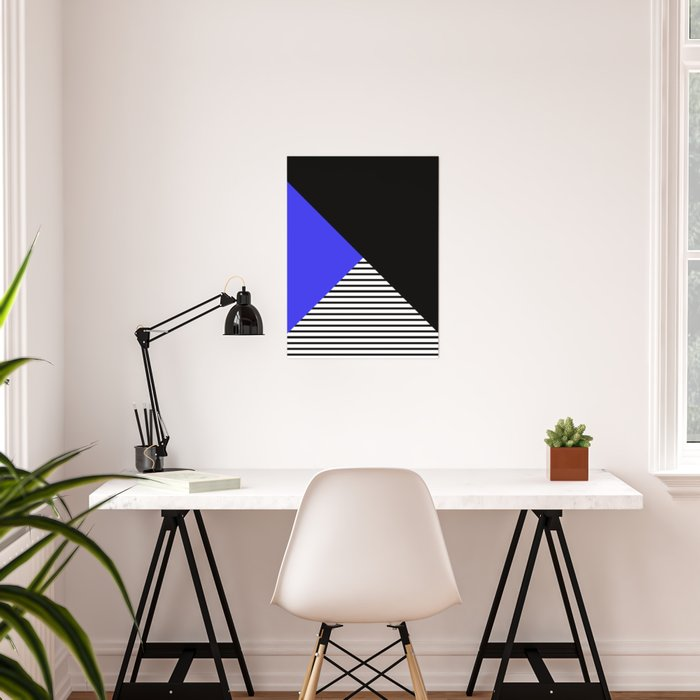 Blue & Black Geometric Abstraction Poster