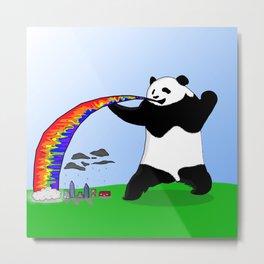 Panda Spitting Rainbow Metal Print
