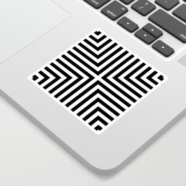 Simple Geometric Cross Pattern - White on Black - Mix & Match with Simplicity of life Sticker