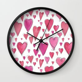 Watercolor My Heart (Large) by Deirdre J Designs Wall Clock
