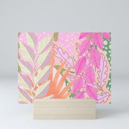 Modern Jungle Plants - Pink Green Purple Mini Art Print