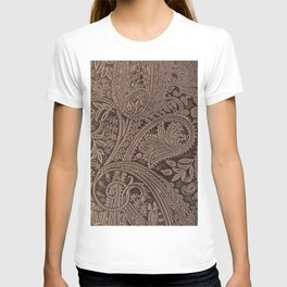 Cocoa Brown Tooled Leather T-shirt