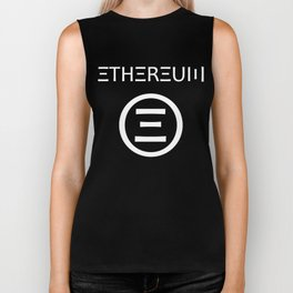 Ethereum Symbol (white on black) Biker Tank