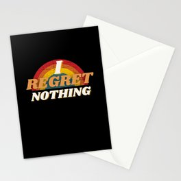 Funny Sarcastic I Regret Nothing Quote Stationery Cards