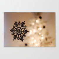 snowflake Canvas Prints featuring Snowflake by Katie Estes