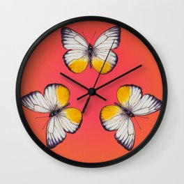 Cepora Lea Butterfly - White, Yellow, Tangerine Wall Clock