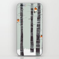 feathers iPhone & iPod Skins featuring Robin Trees by Sandra Dieckmann