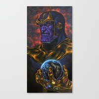 thanos Canvas Prints featuring Marvel Thanos Infinity Gauntlet by Adam Worley