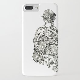 Geometric Black and White Drawing Japanese Yukata Kimono iPhone Case