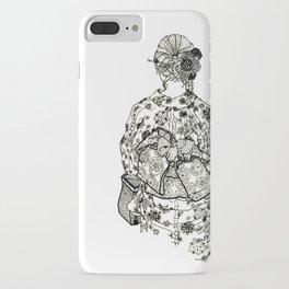 Geometric Black and White Drawing Japanese Yukata Kimono iPhone Case