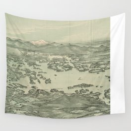Vintage Pictorial Map of Lake Winnipesaukee (1903) Wall Tapestry