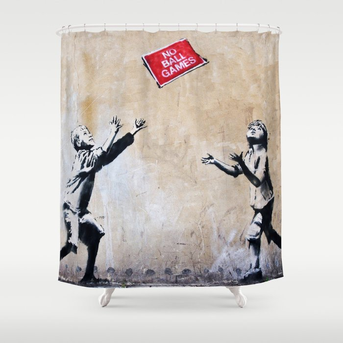 Banksy Ball Games Shower Curtain By Alma Design