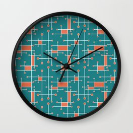 Intersecting Lines in Teal, Coral and White Wall Clock