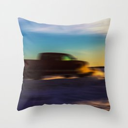 Motion Blurred Pick-up Truck Plowing Snow Throw Pillow