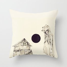 Mujer Loba Throw Pillow