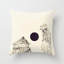 Mujer Loba Throw Pillow