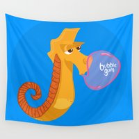 sea horse Wall Tapestries featuring Character collection saltwater Sea Horse by marieli Souffle