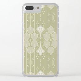 Art Deco Botanical Flower Shapes - Summer Green Clear iPhone Case