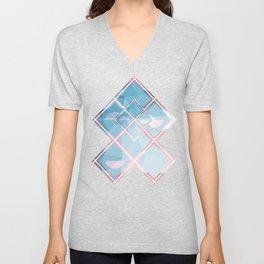 Abstract Triangulated XOX Design Unisex V-Neck