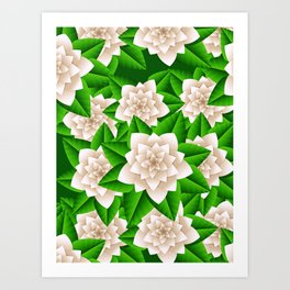 White Camellias and Green Leaves Art Print