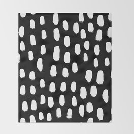 Spots black and white minimal dots pattern basic nursery home decor patterns Throw Blanket