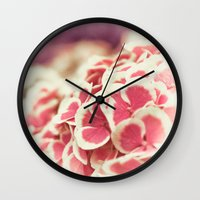 hydrangea Wall Clocks featuring Hydrangea by Julia Tomova