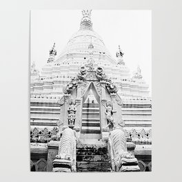 White Buddhist temple Poster