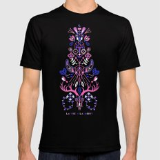 La Vie & La Mort – Pink & Periwinkle on Black Black MEDIUM Mens Fitted Tee