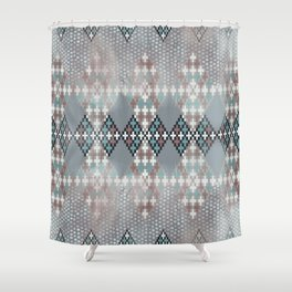 blurry diamond geo in pale teal and ochre Shower Curtain