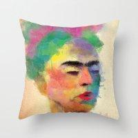 frida kahlo Throw Pillows featuring frida kahlo by vale agapi