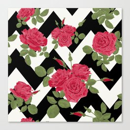 Red roses on a black zigzag Canvas Print