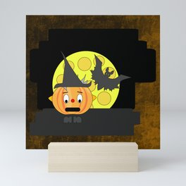 Funny shocked pumpkin head with bat and moon Mini Art Print