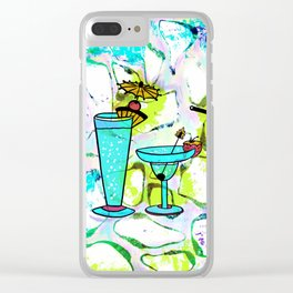 Summer Pool Party Cocktails , Watercolor Painting in Aqua Tequila Sunrise Colors Clear iPhone Case
