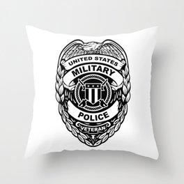 U.S. Military Police Veteran Security Force Badge, Black Line Art Throw Pillow