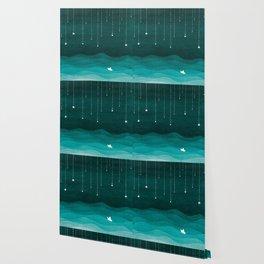 Falling stars, sailboat, teal, ocean Wallpaper