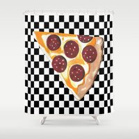 eat Shower Curtains featuring Eat Pizza  by Sartoris ART